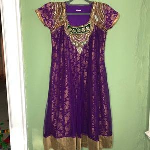 Stunning Purple and Gold Indian Party Dress XL